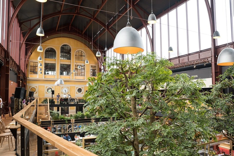 L'interno del mercato Gare du Sud, visto dal ballatoio, con pianta in primo piano