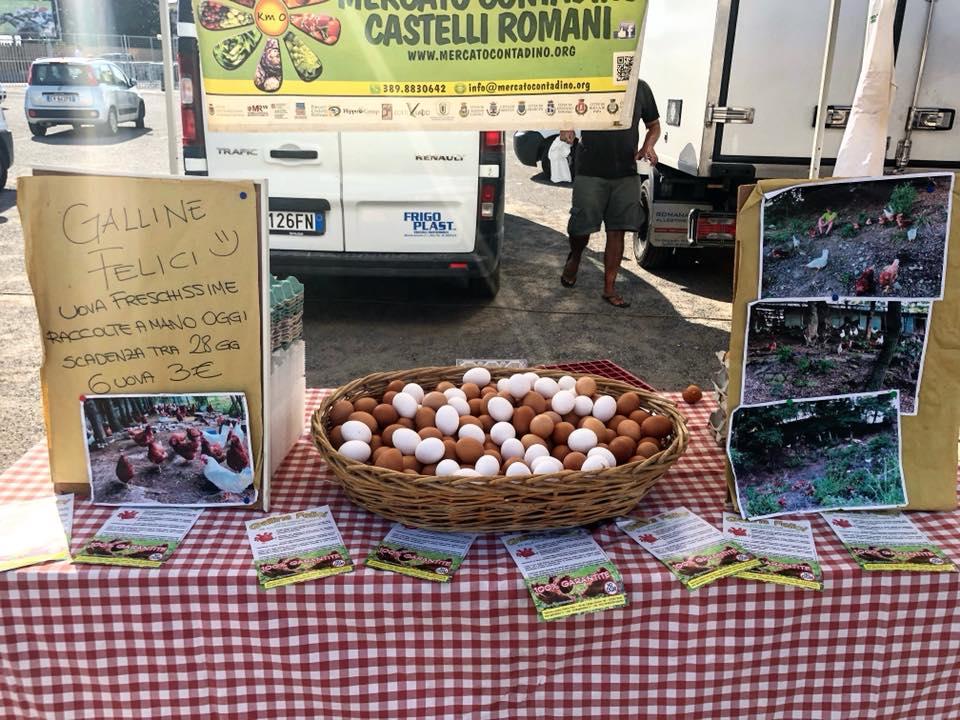 Cesto di uova al mercato di Capannelle