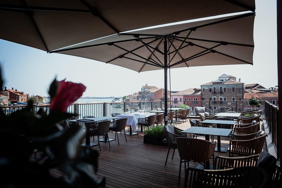 La terrazza del Vetri Ristorante a Murano, con vista sulla Laguna