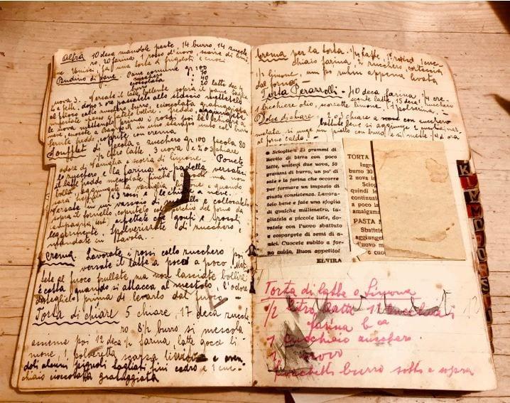 Un ricettario antico scritto a mano, aperto sulla pagina delle torte