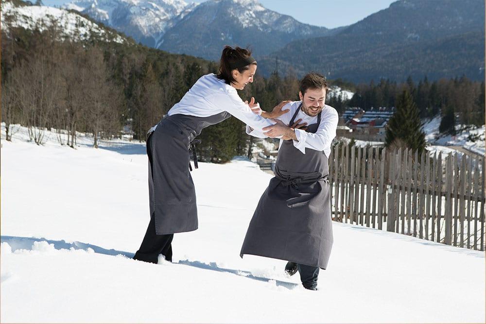 Oliver Piras e Alessandra Del Favero sulla neve