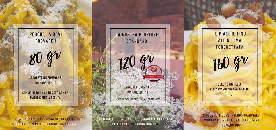 Le opzioni di carbonara da Maritozzo Rosso: il menu