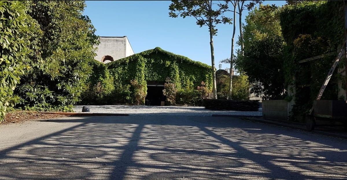 Fabbrica Orobia: la facciata esterna coperta d'edera, vista dal cortile