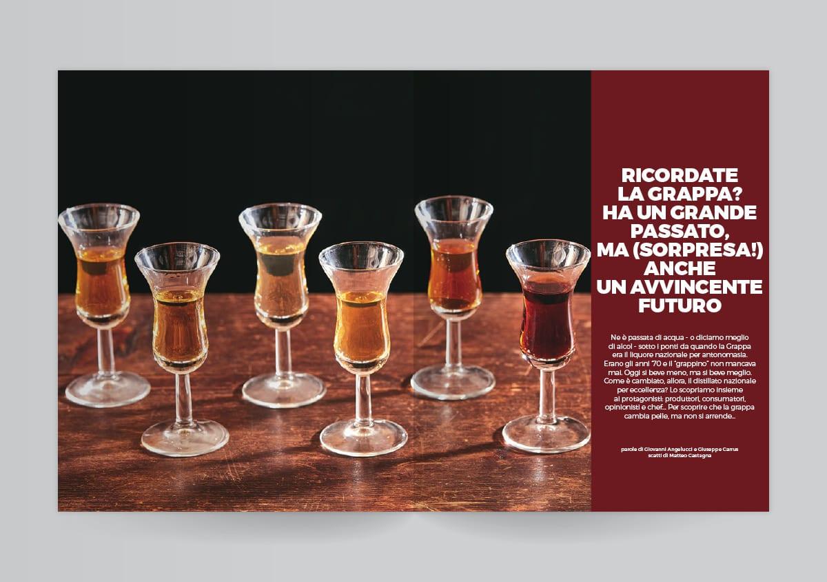 Bicchieri di grappa sul mensile del Gambero Rosso