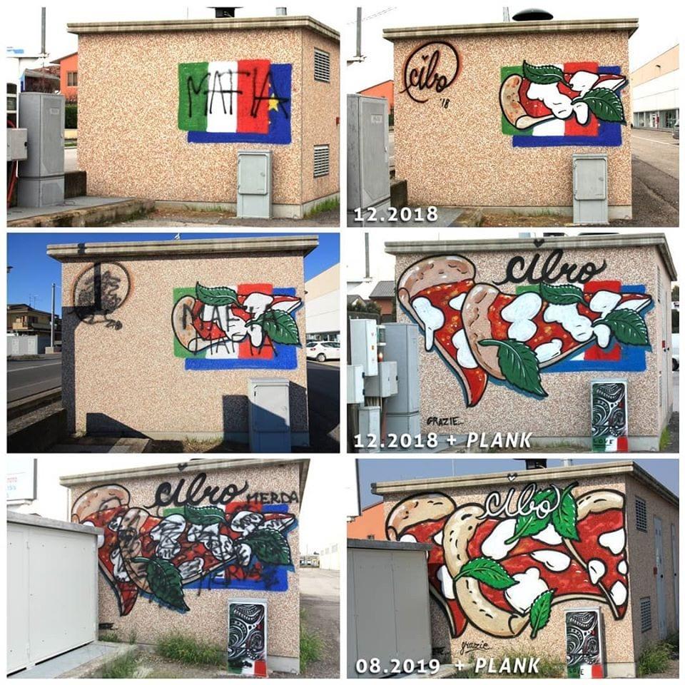 sequenza di murales di Cibo a tema pizza