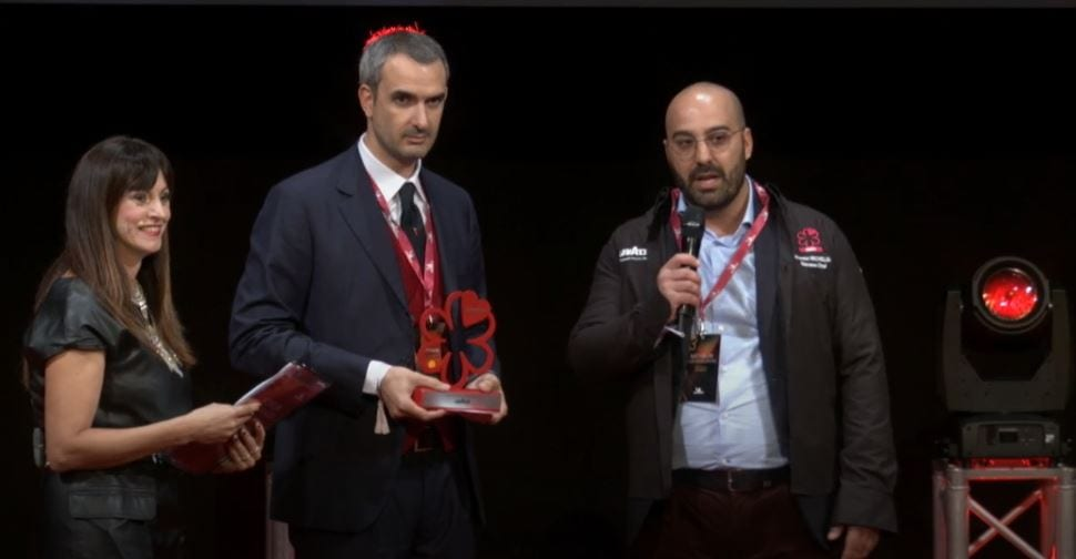 Davide Puleio sul palco Michelin 2020