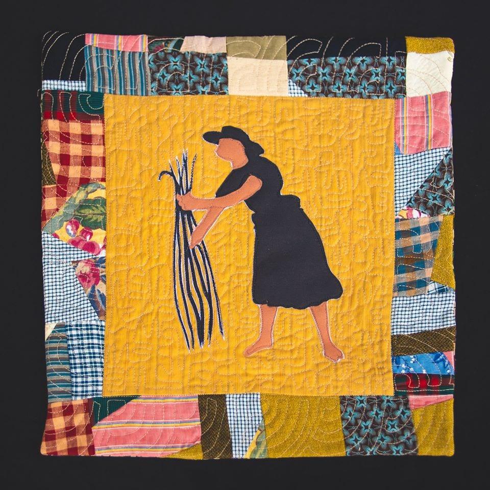 Una rettangolo della coperta patchwork in mostra al Mofad
