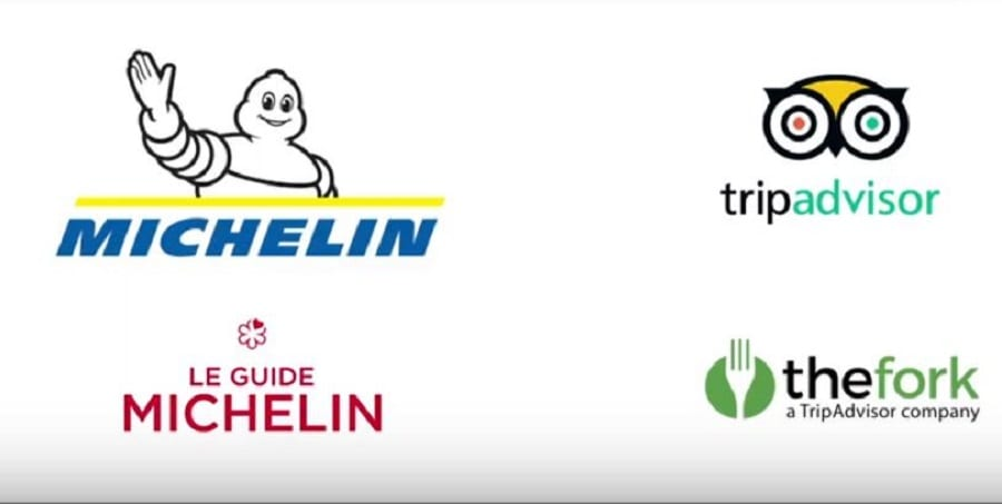 I loghi di guida Michelin, Tripadvisor, the fork su fondo bianco