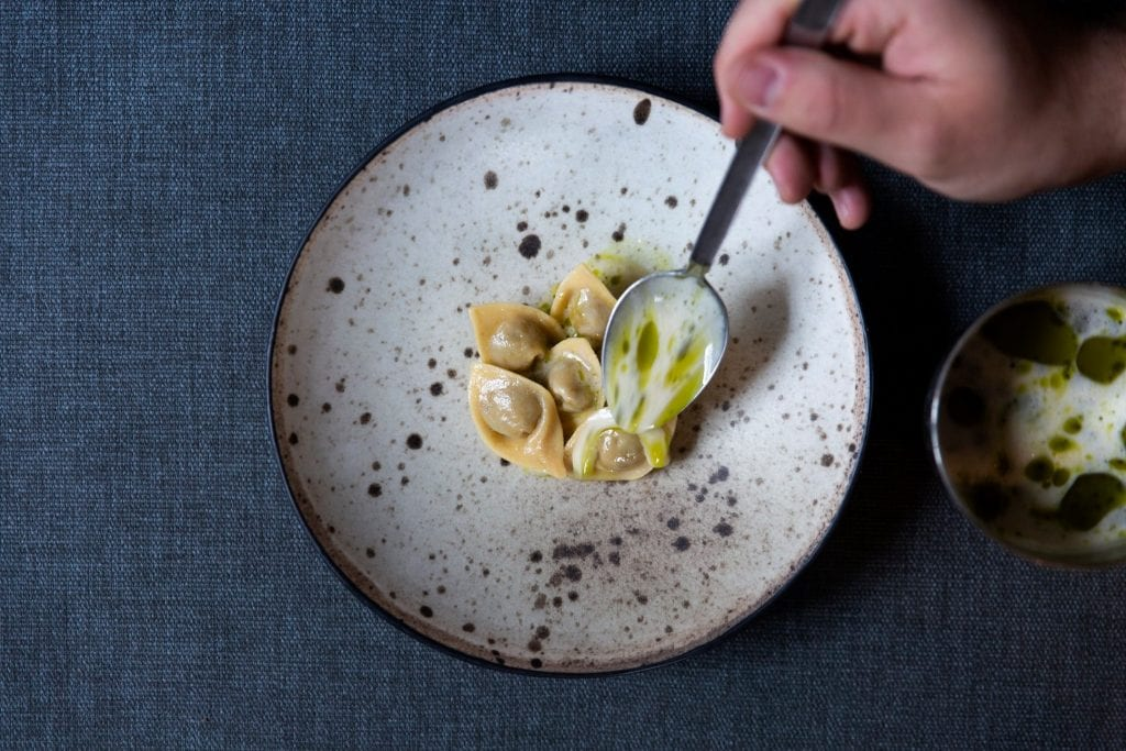 Un piatto di pasta ripiena da Brace a Copenhagen
