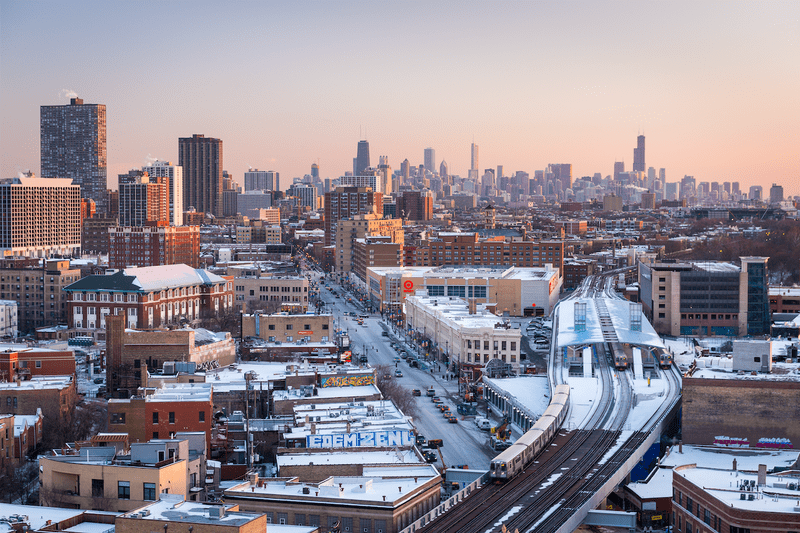 La città di Chicago vista dall'alto