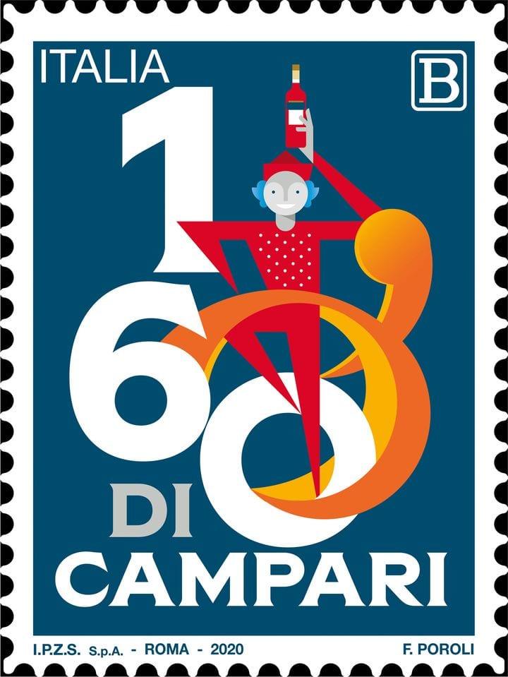 francobollo per i 160 di Campari che raffigura Lo Spiritello