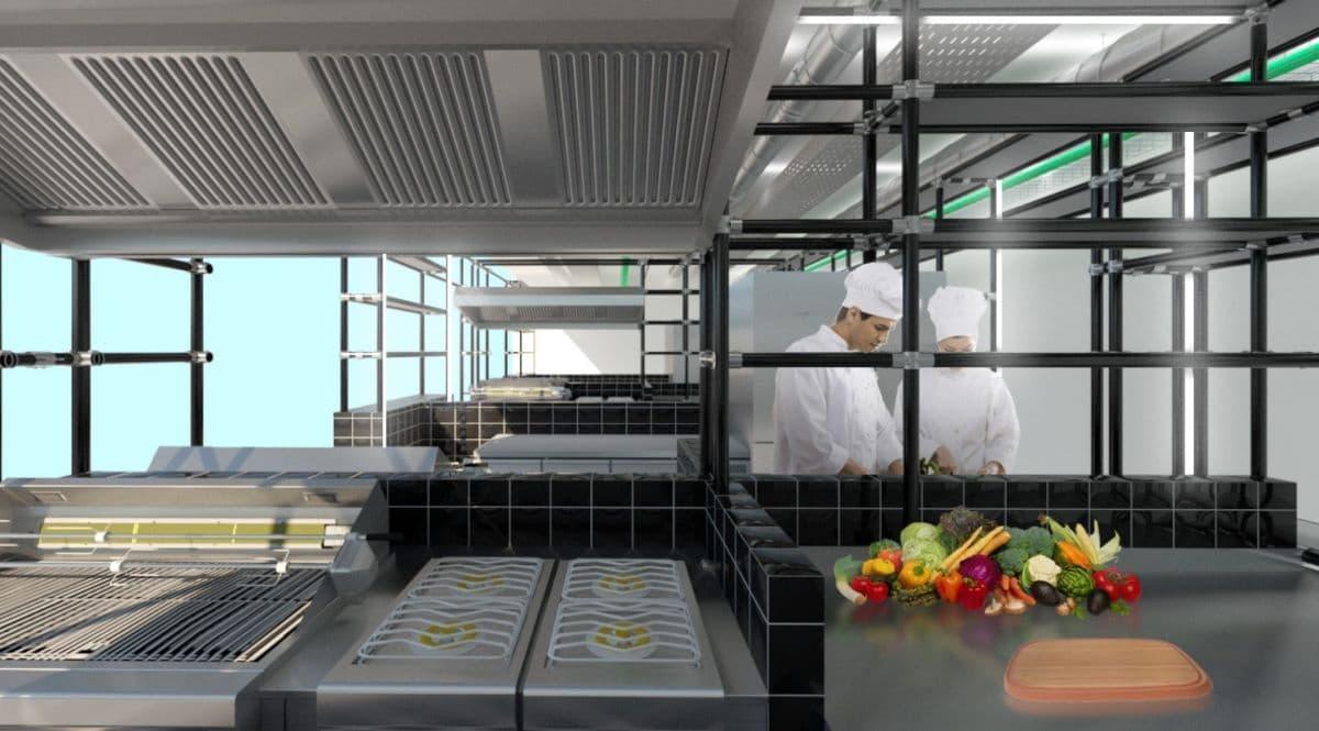 Gli spazi della cloud kitchen Kuiri a Milano