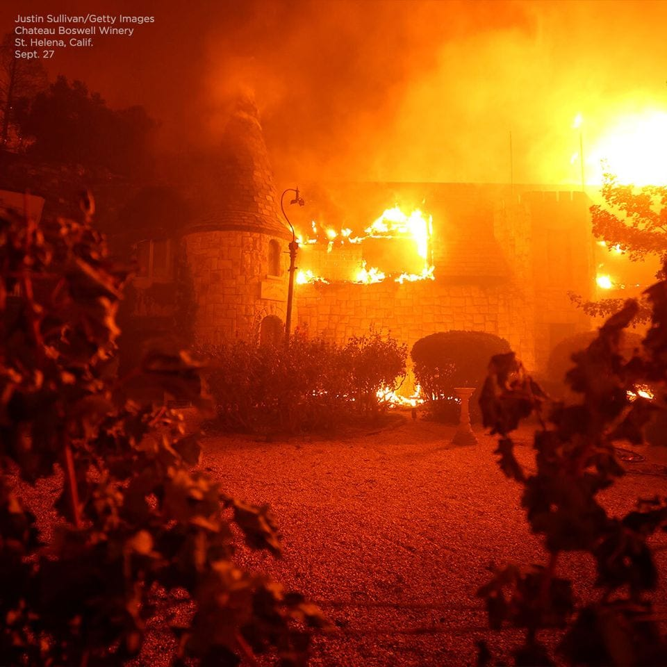 Chateau Boswell in fiamme