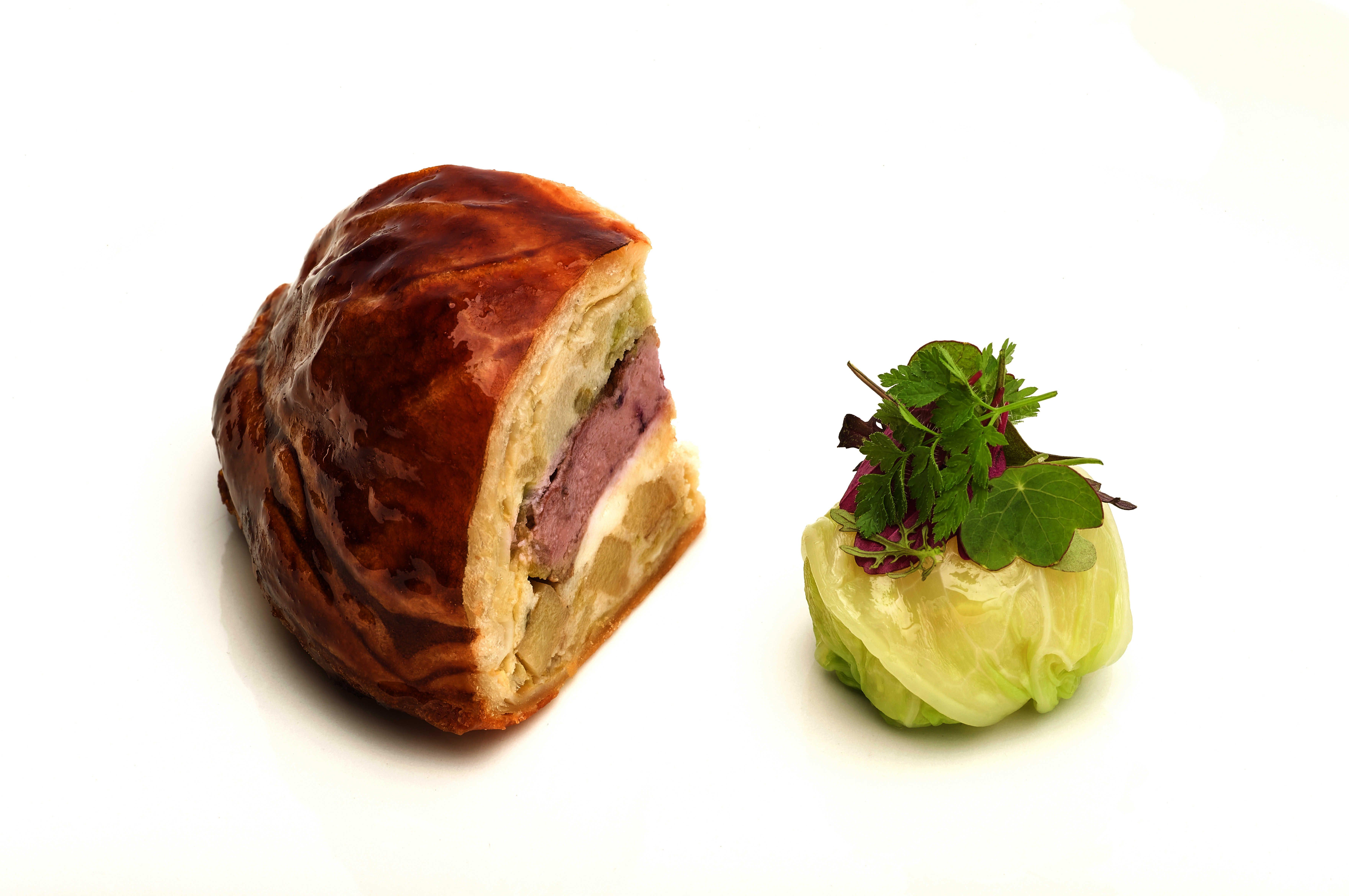 Tortino di triglia, foie gras e verza