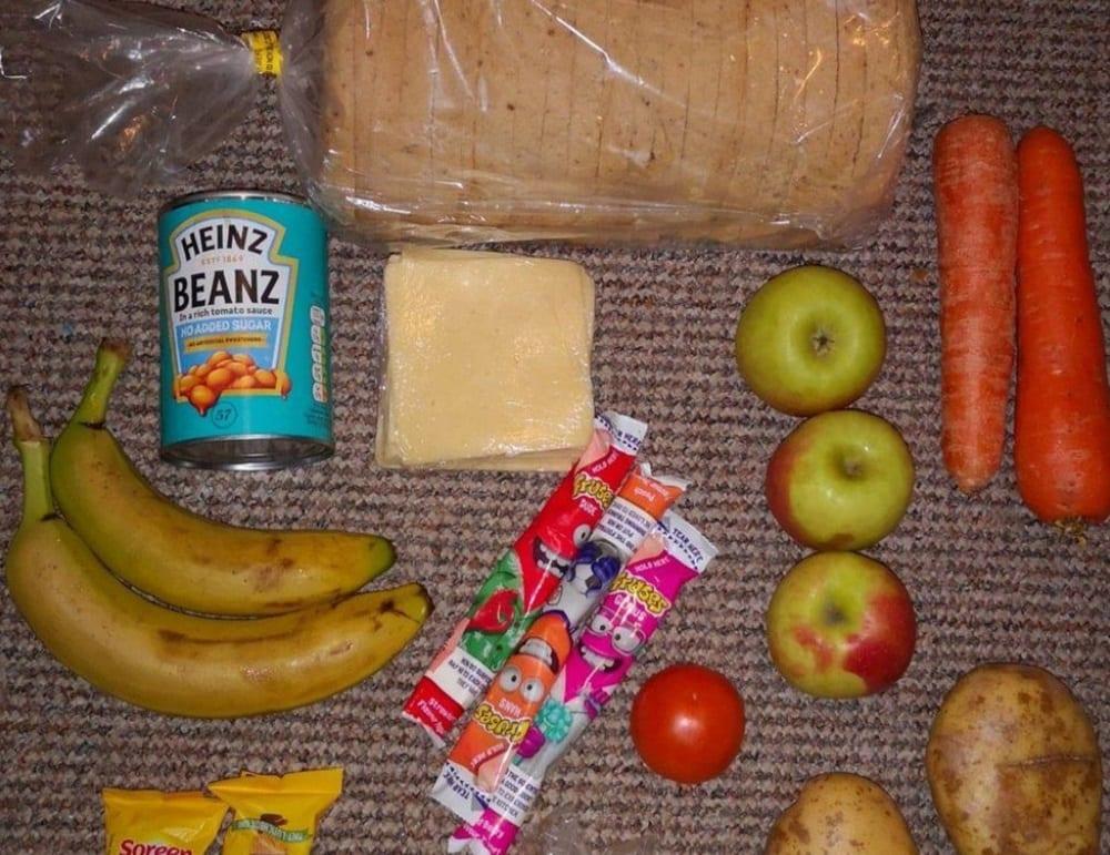 Il contenuto di un pacco alimentare