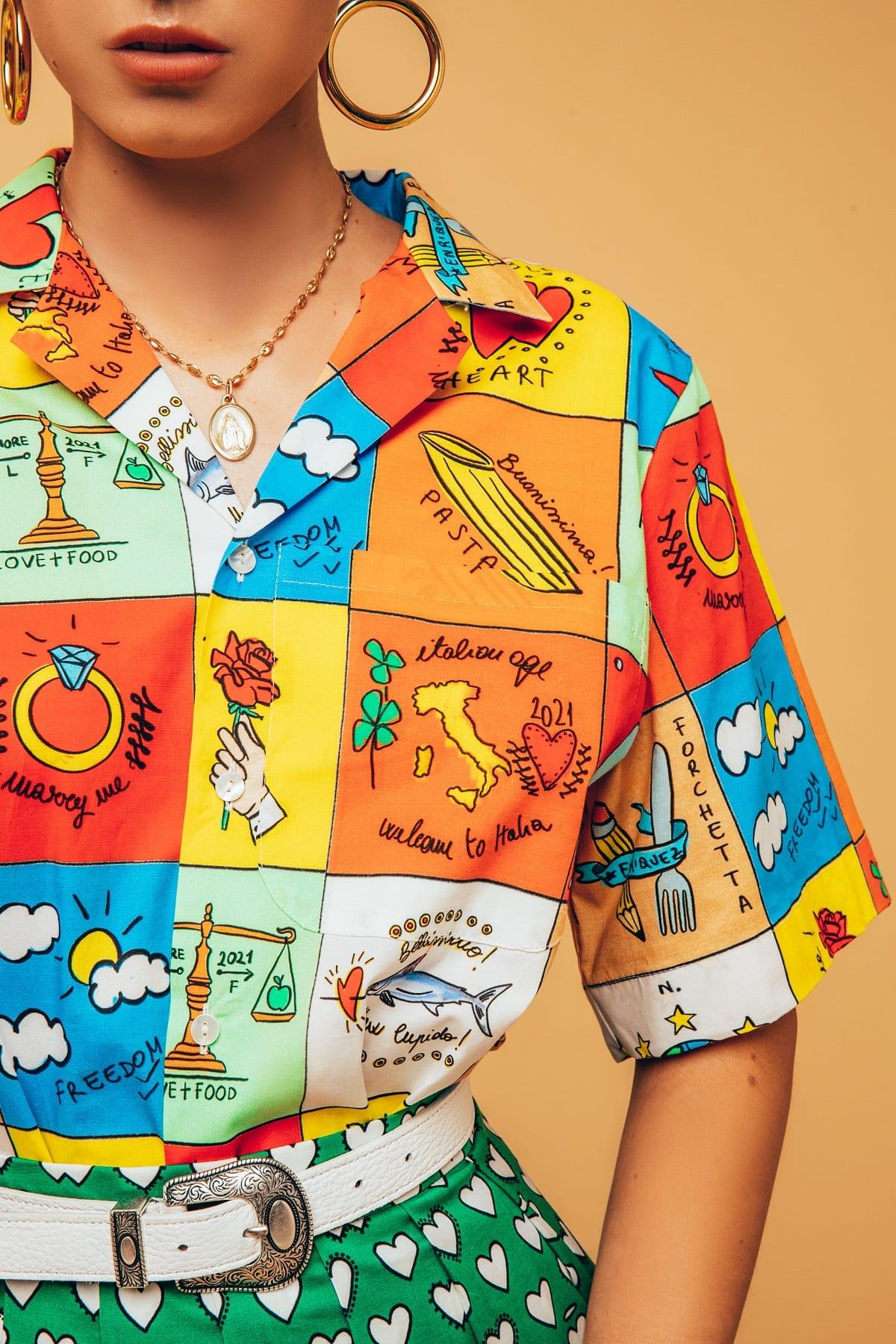 Camicia ispirata al cibo italiano