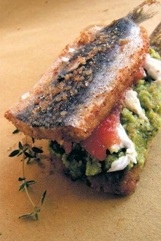 Sandwich di sarde fritte, carpaccio di pomodoro, maionese di zucchine e stracciatella