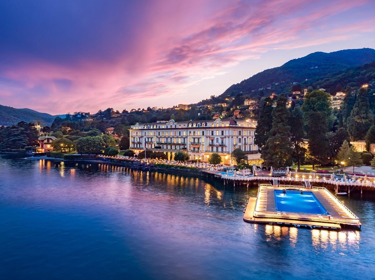 Villa D'Este sul lago di Como al tramonto