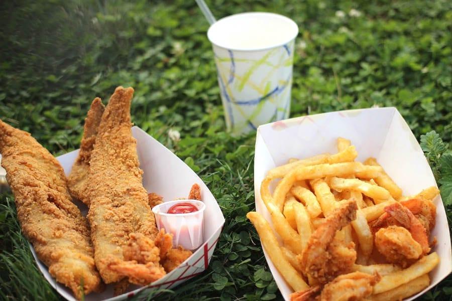 alette di pollo e patatine fritte - street food sull'erba
