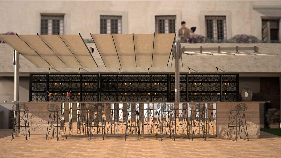 Il banco del bar sulla terrazza di Palazzo Manfredi