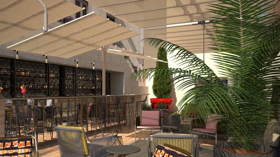 La terrazza arredata con sedie, tavoli e piante di Palazzo Manfredi, render