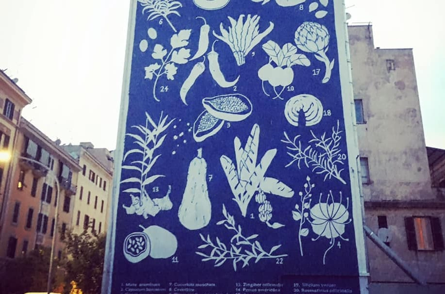 Herbarium a Tor Pignattara, il murales di Tellas