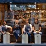 front DRY Pisacco founders - back pizzaiolo Simone LOmbardi barman Guglielmo Miriello photo by Diego Rigatti