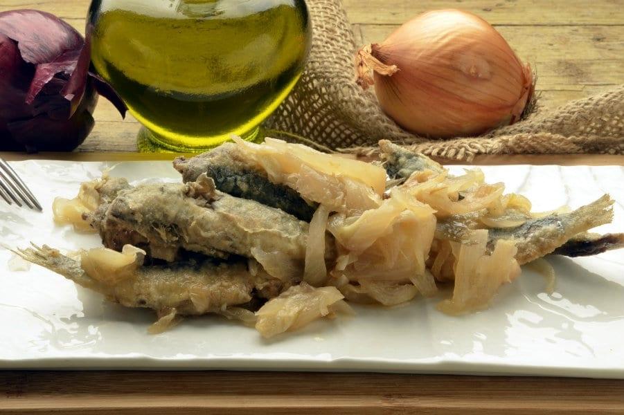 Cucina di casa in Veneto. Ricette: Sarde in saor, Risi e bisi e Baccalà alla vicentina