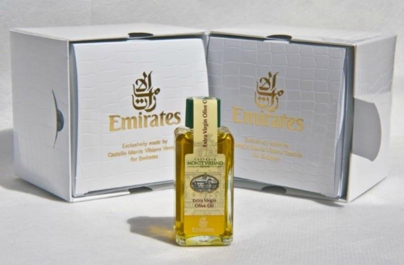 Olio e aceto balsamico di Castello Monte Vibiano volano alto. Con Emirates