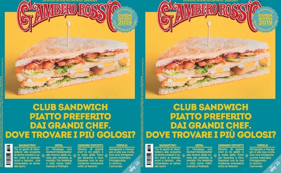 Due copertine del mensile del Gambero Rosso di marzo con club sandwich su sfondo blu