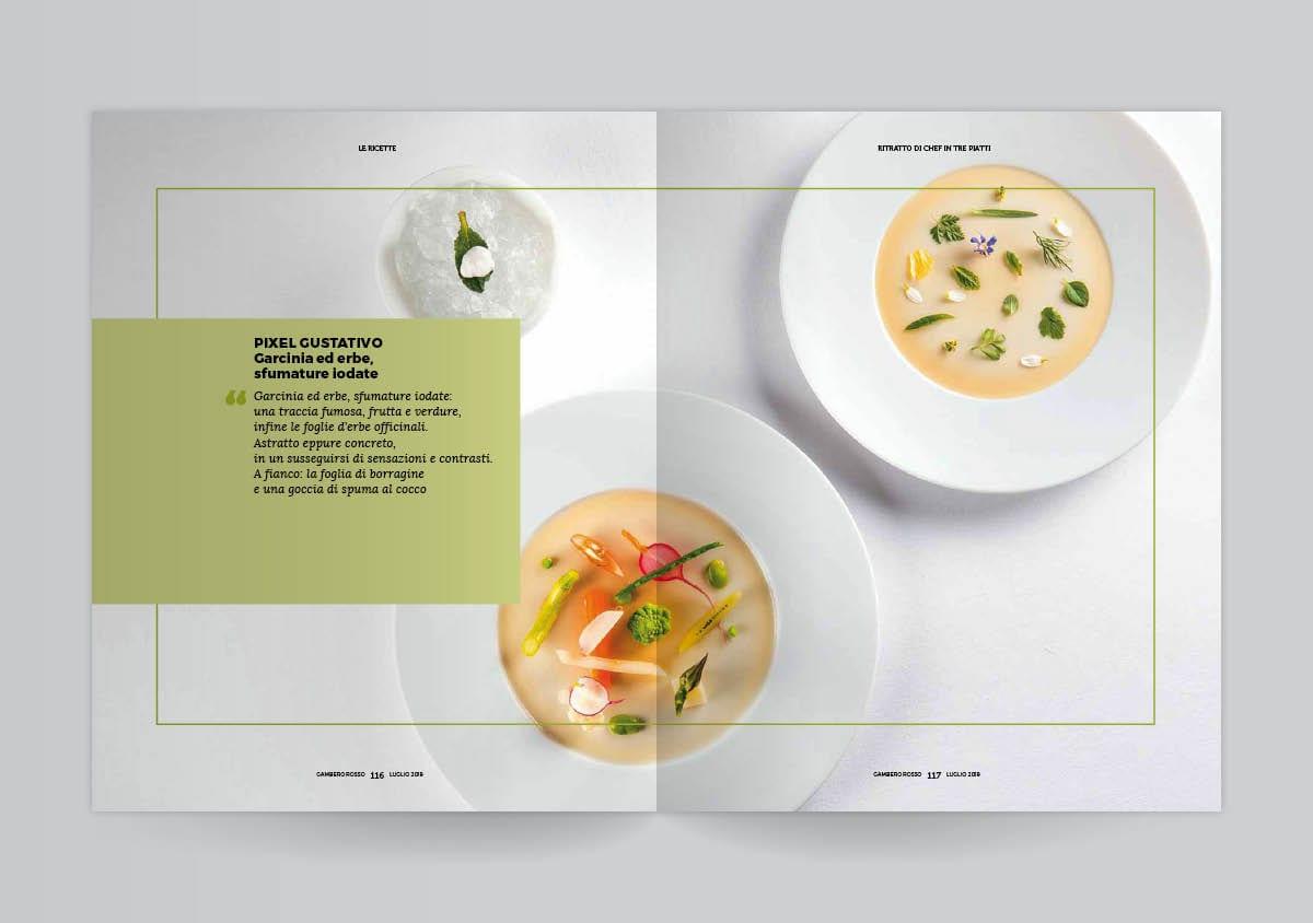 Due pagine aperte del mensile del Gambero Rosso con i piatti di Luigi Taglienti