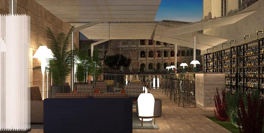 La terrazza di The Court con vista sul Colosseo di notte