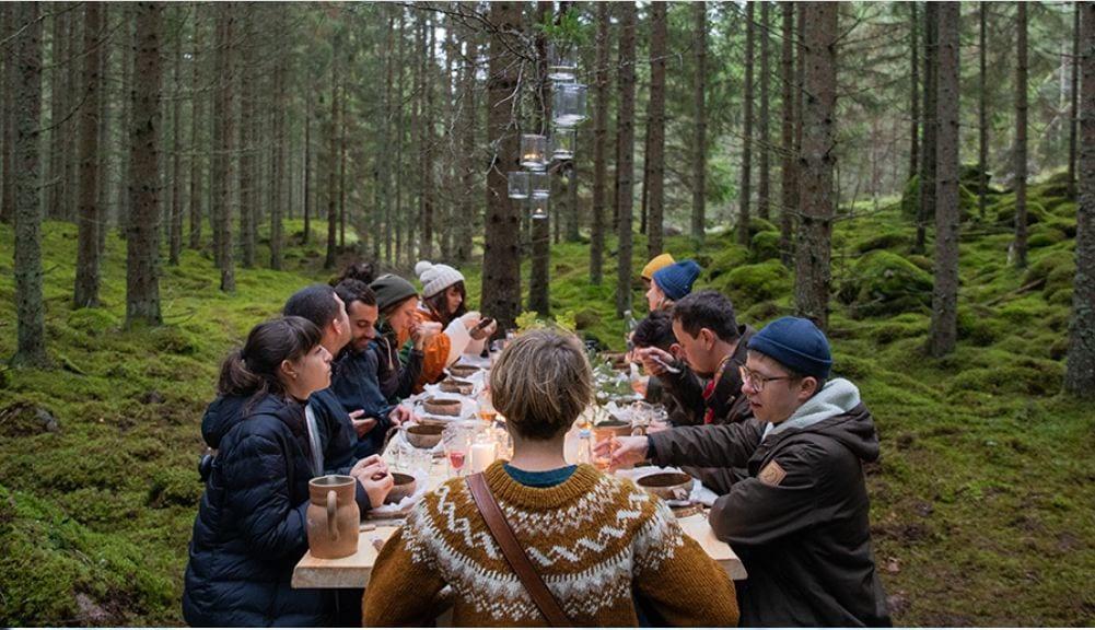 un pranzo in mezzo al bosco in Svezia